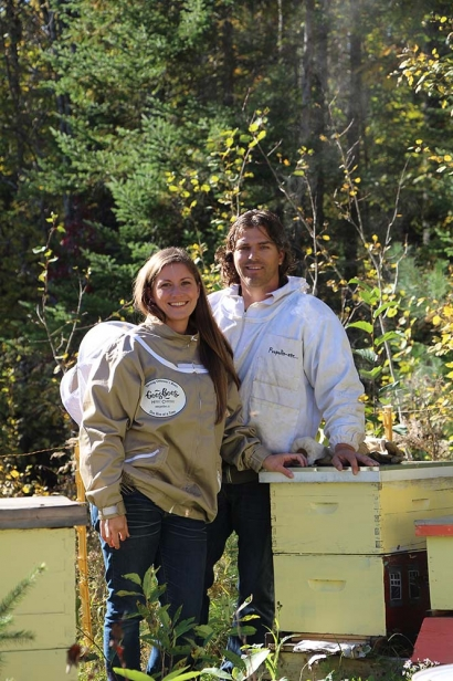 Marianne and Matt Gee, owners of Gees Bees Honey Company, harvest honey from their hives in Dunrobin.