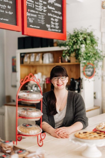 Kassy Boulay, above, opened the quaint, 450-square-foot retail shop in downtown Perth to compliment Perth Pie Co.'s long-standing wholesale business