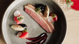 smoked duck breast bacon with haskaps and foie gras